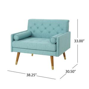 Miraculous Noble House Eugene Mid Century Modern Tufted Blue Fabric Spiritservingveterans Wood Chair Design Ideas Spiritservingveteransorg