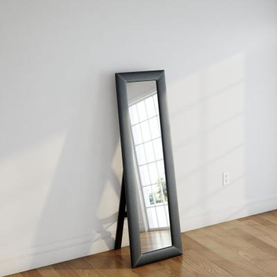 McLean Contemporary Dark Brown Faux Leather Upholstered Floor Mirror