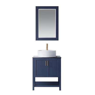 Modena 28 Vanity in RoyalBlue with Glass Countertop with White Vessel Sink With Mirror