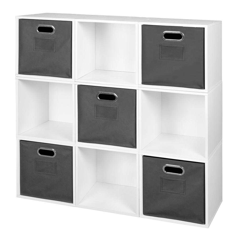 Niche Cubo 39 in. H x 39 in. W White Wood Grain/Grey 9-Cube and 5-Bin Organizer