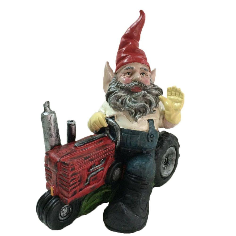 Toad Hollow 12 In Gardener Gnome Riding Farm Tractor