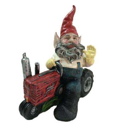 12 in. Gardener Gnome Riding Farm Tractor Collectible Statue