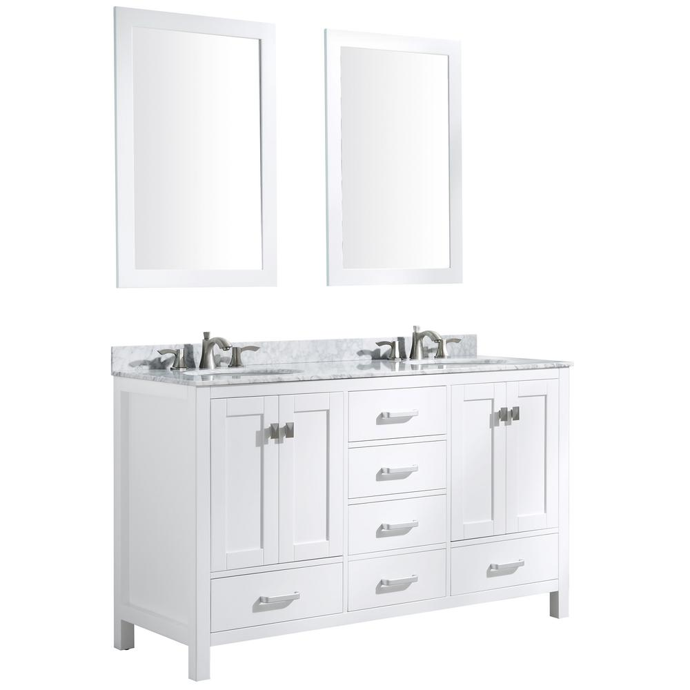 ANZZI Chateau 60 in. W x 36 in. H Bath Vanity in White with Marble Vanity Top in Carrara White with White Basins and Mirrors