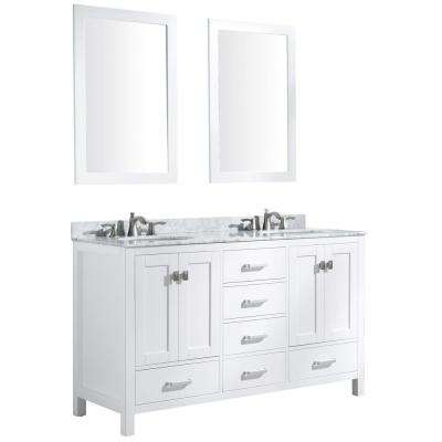Chateau 60 in. W x 36 in. H Bath Vanity in White with Marble Vanity Top in Carrara White with White Basins and Mirrors