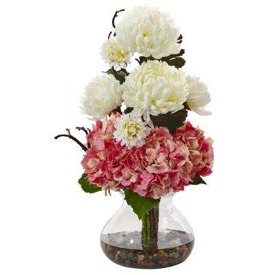 19 in. Hydrangea and Mum in Vase in Pink and White