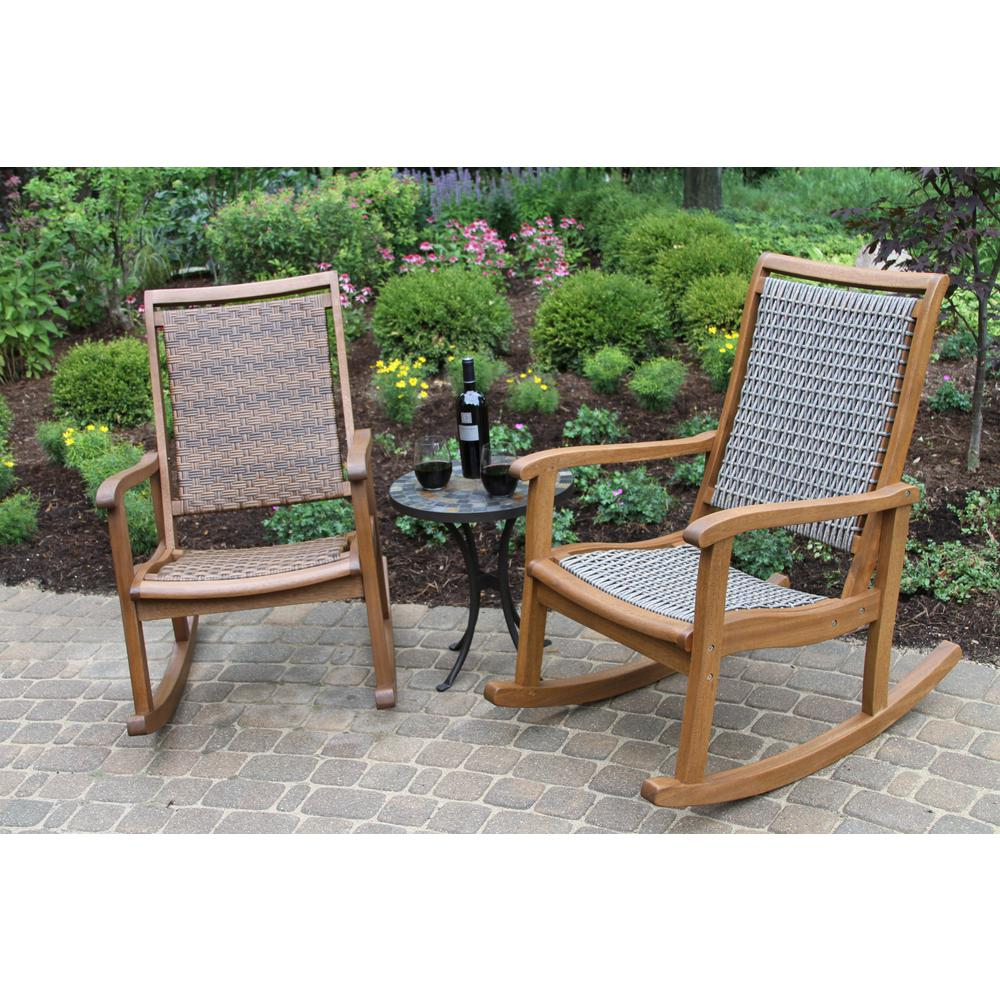 Prime Outdoor Interiors Brown Wicker And Eucalyptus Outdoor Rocking Chair Cjindustries Chair Design For Home Cjindustriesco