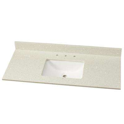 49 in. W Engineered Stone Single Vanity Top in Sparkling White with White Sink