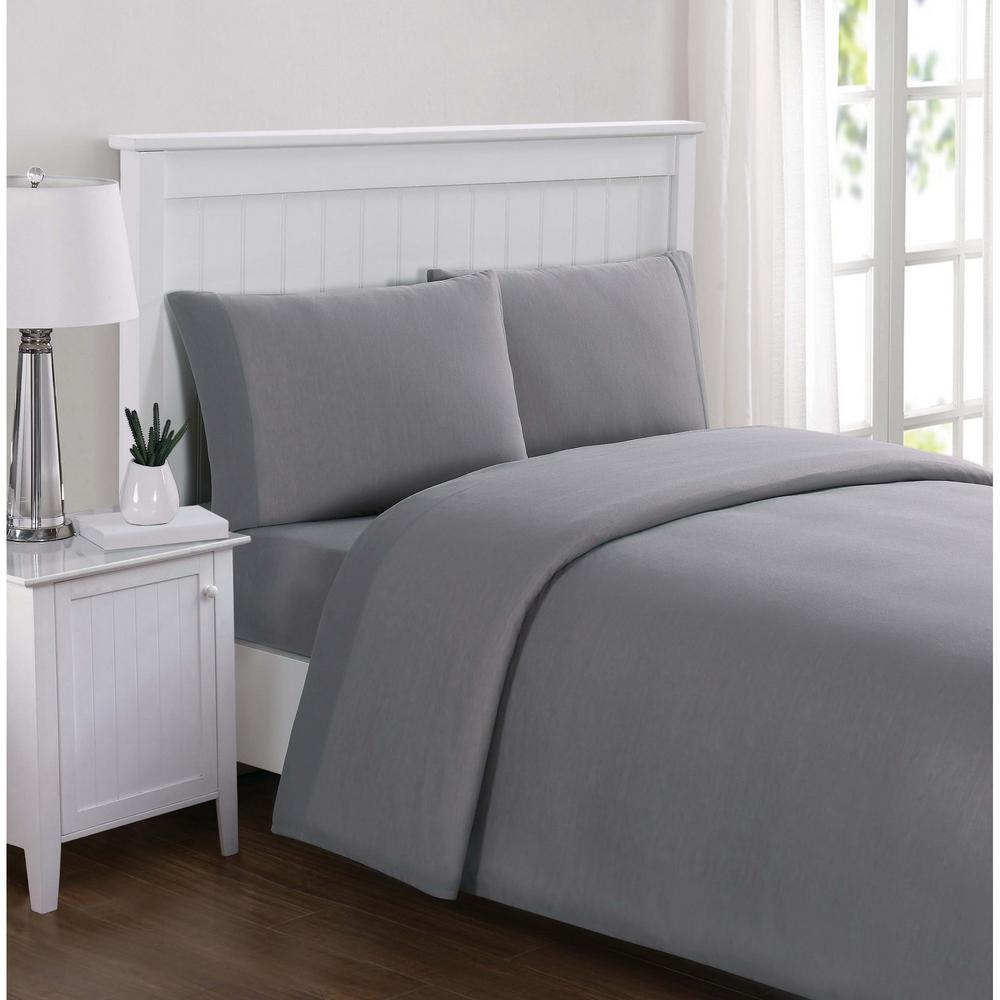 Bon Truly Soft Everyday Solid Jersey Grey Queen Sheet Set