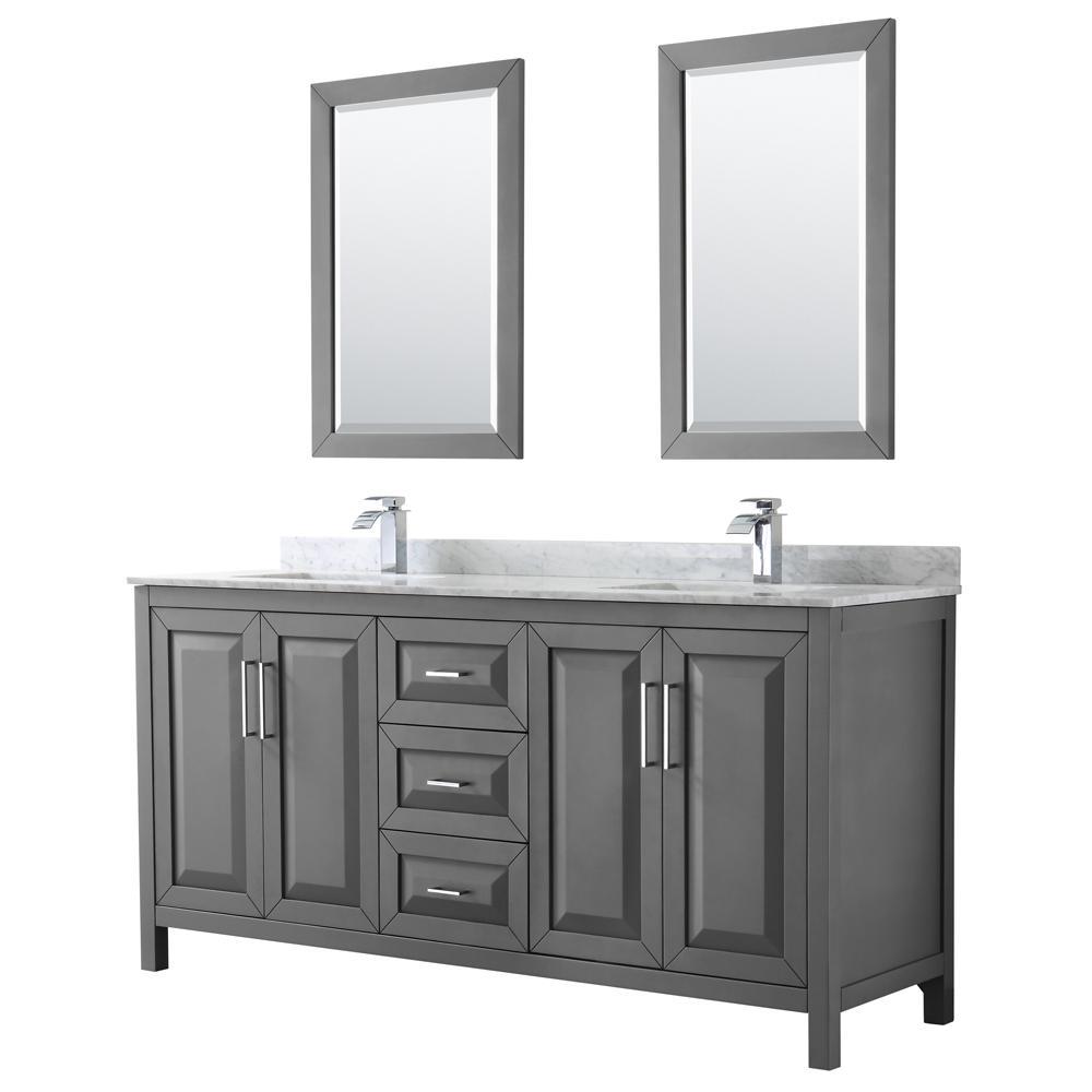 Daria 72 in. Double Bathroom Vanity in Dark Gray with Marble Vanity Top in Carrara White and 24 in. Mirrors