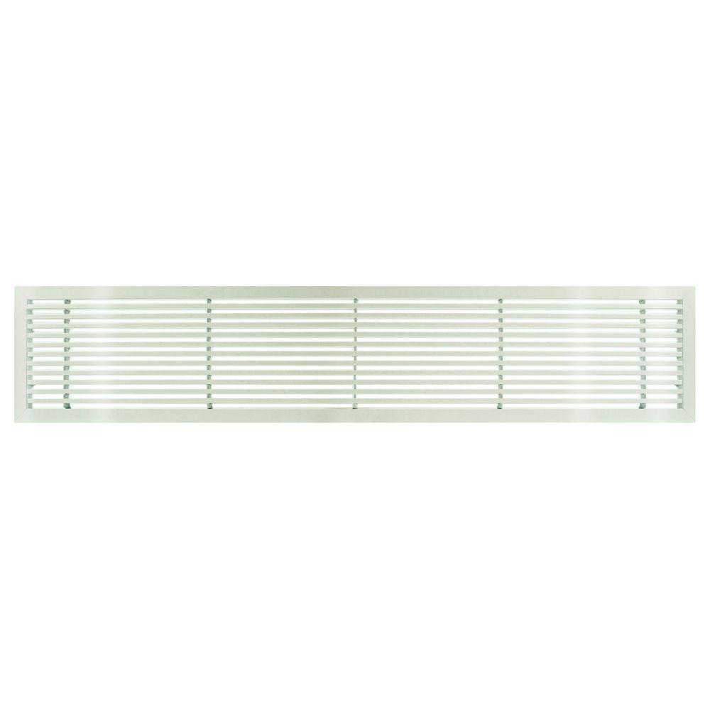 Architectural Grille AG20 Series 6 in. x 30 in. Solid Aluminum Fixed Bar Supply/Return Air Vent Grille, White-Gloss