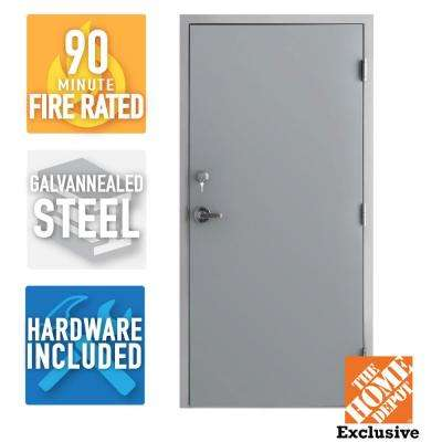 36 in. x 80 in. Fire-Rated Gray Left-Hand Flush Steel Prehung Commercial Door with Welded Frame, Deadlock and Hardware