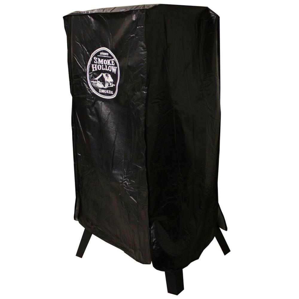 Smoke Hollow 38 in. Smoker Cover, Black A perfect fit for your Smoke Hollow 38 in. smoker. This weather resistant PVC cover with cold-backing interior lining will protect your smoker for years to come. The full-length zipper makes removal and covering very easy and the self-adhering strap secures the cover to the right front smoker leg. Color: Black.