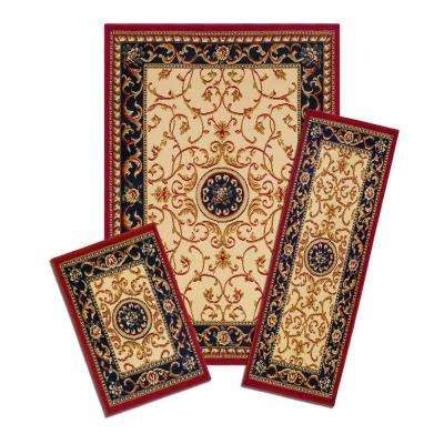 Capri Wrought Iron Medallion 5 ft. x 7 ft. 3-Piece Rug Set