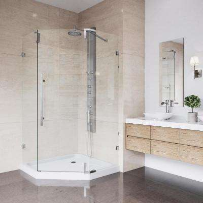 Ontario 36 in. x 77 in. Frameless Neo-Angle Hinged Shower Enclosure in Chrome with Low-Profile Base