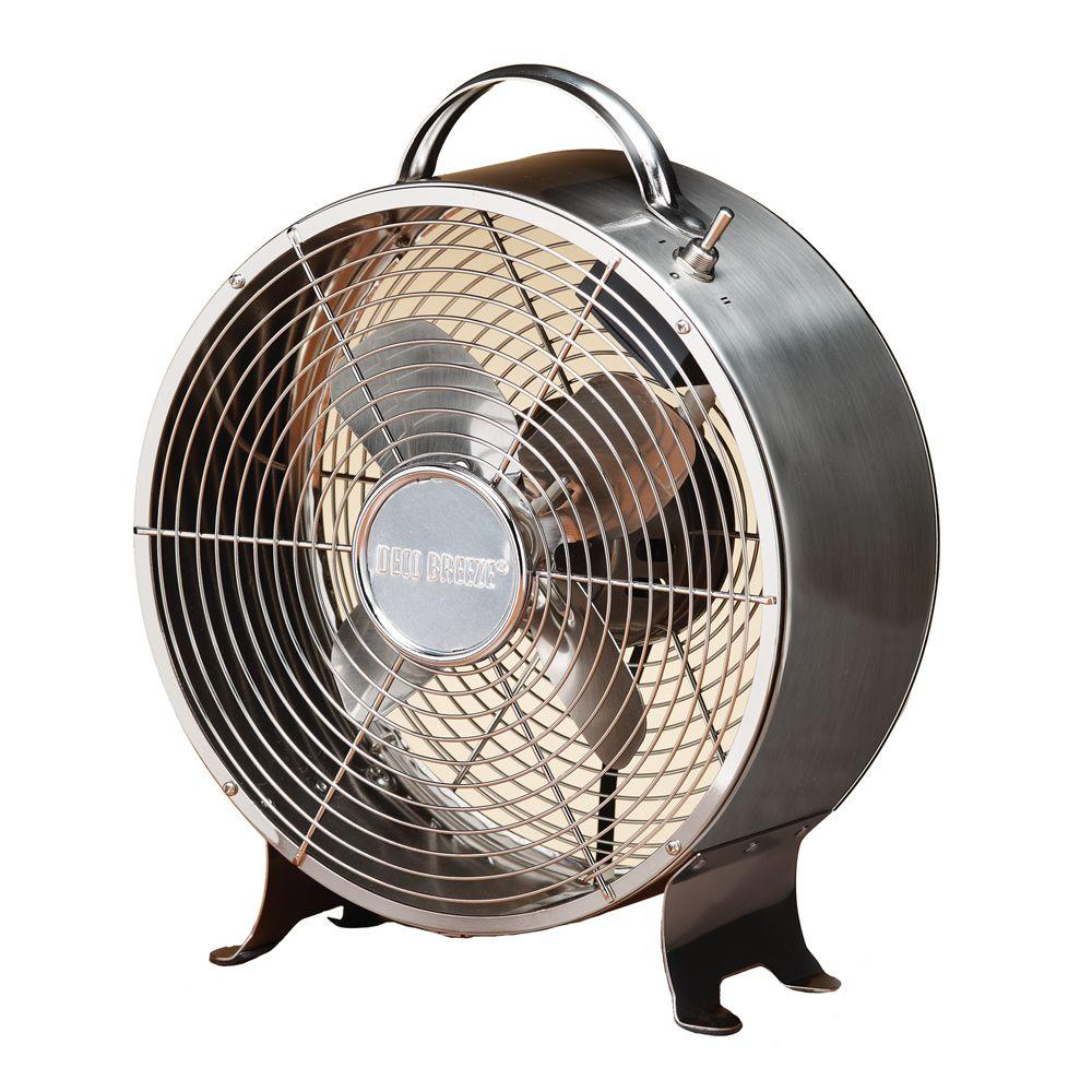 Outdoor Table Top Fan : Deco breeze in retro stainless table fan dbf the