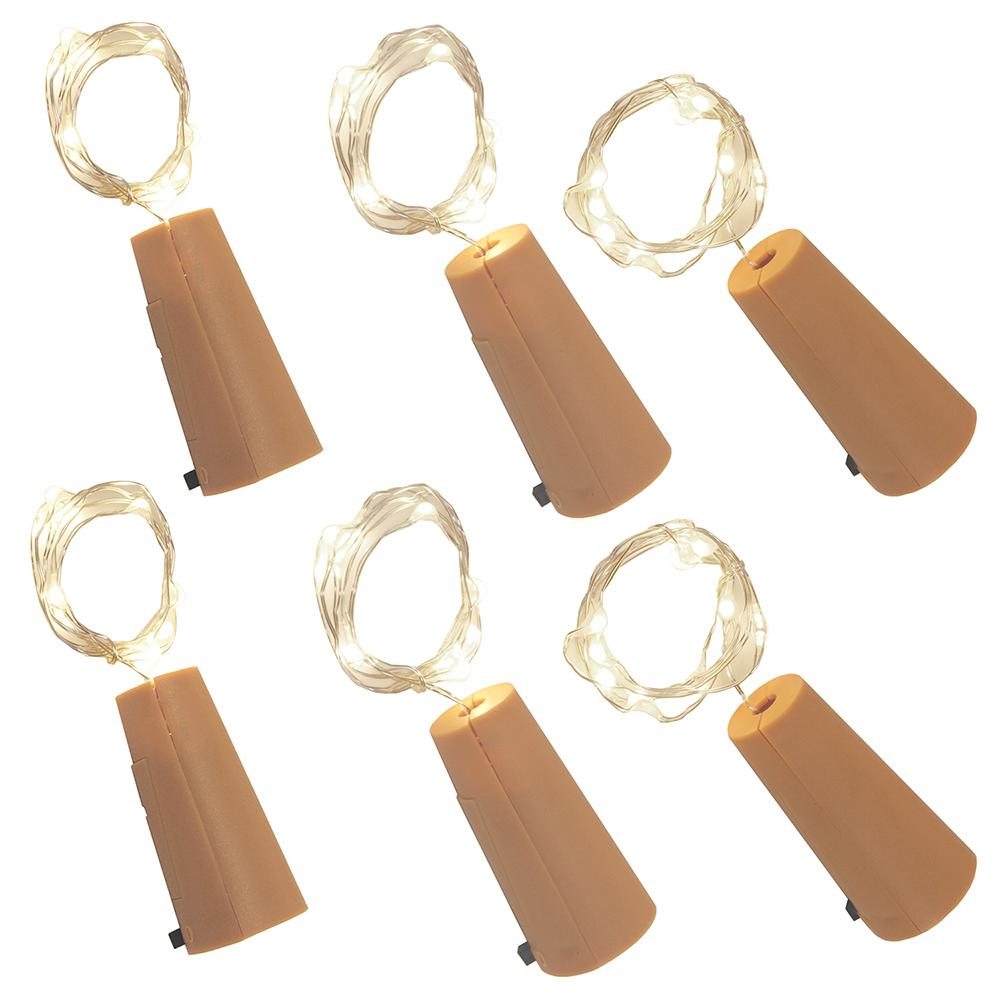 Cool White Wine Cork with Battery Operated Submersible Mini String Lights