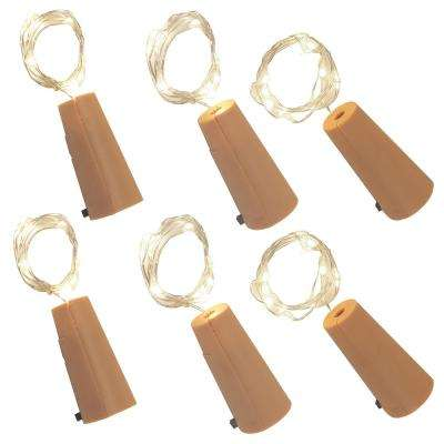 Cool White Wine Cork with Battery Operated Submersible Mini String Lights (6-Count)