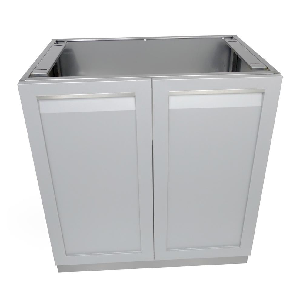 4 Life Outdoor Stainless Steel Assembled 32x35x24 in. Outdoor Kitchen Base Cabinet with 2 Full ...