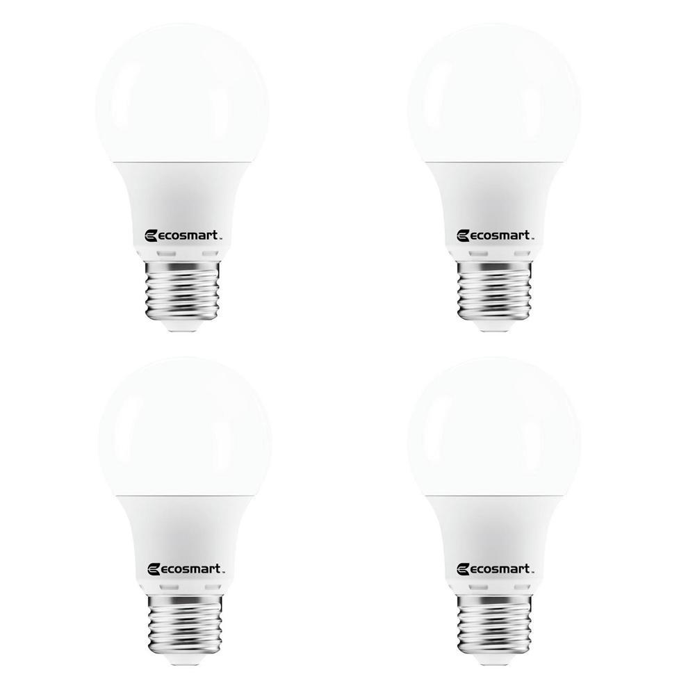 40-Watt Equivalent A19 Non-Dimmable LED Light Bulb Soft White (4-Pack)