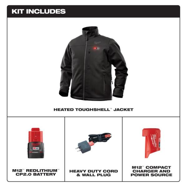 Milwaukee Men S Large M12 12 Volt Lithium Ion Cordless Black Heated Jacket Kit With 1 2 0ah Battery And Charger 202b 21l The Home Depot