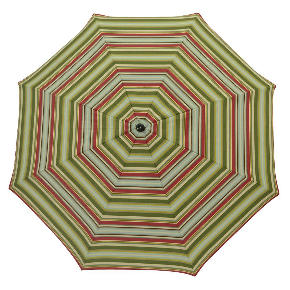 Plantation Patterns 7-1/2 ft. Patio Umbrella in Grove Stripe-DISCONTINUED