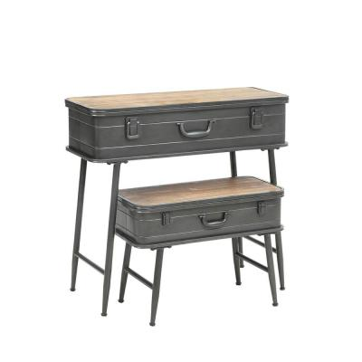 29.5 in. H Gray and Brown Recessed Metal Storage Trunk Console Table with Barn Latch Closure (Set of 2)