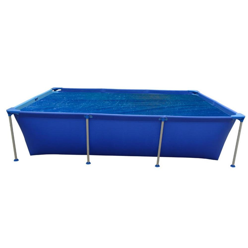 Pool Central 12.8 ft. x 6.6 ft. Blue Rectangular Solar Pool Cover for Steel Frame Swimming Pool