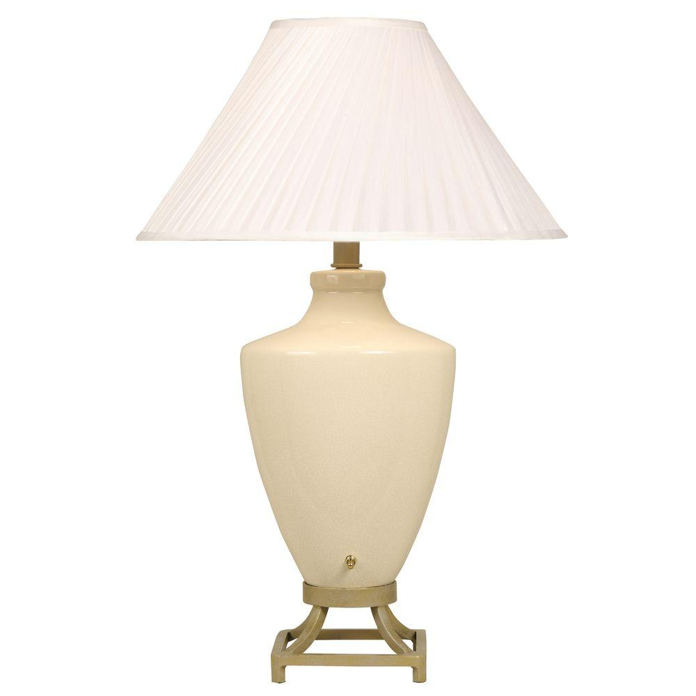 Ore International 32 In Pineapple Antique Gold Table Lamp: ORE International 32 In. Metal Ivory Lamp-6129IV