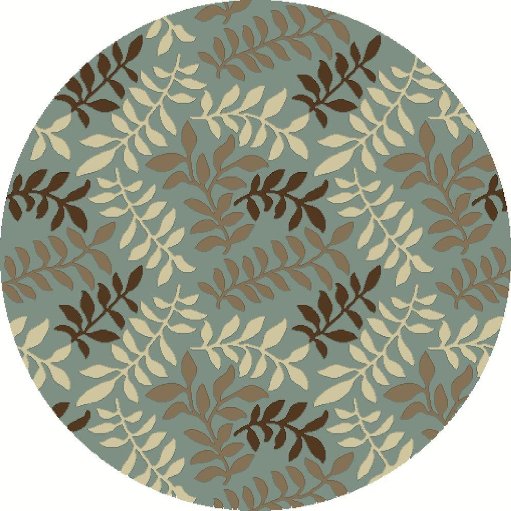 Chester Leafs Blue 8 ft. Round Area Rug