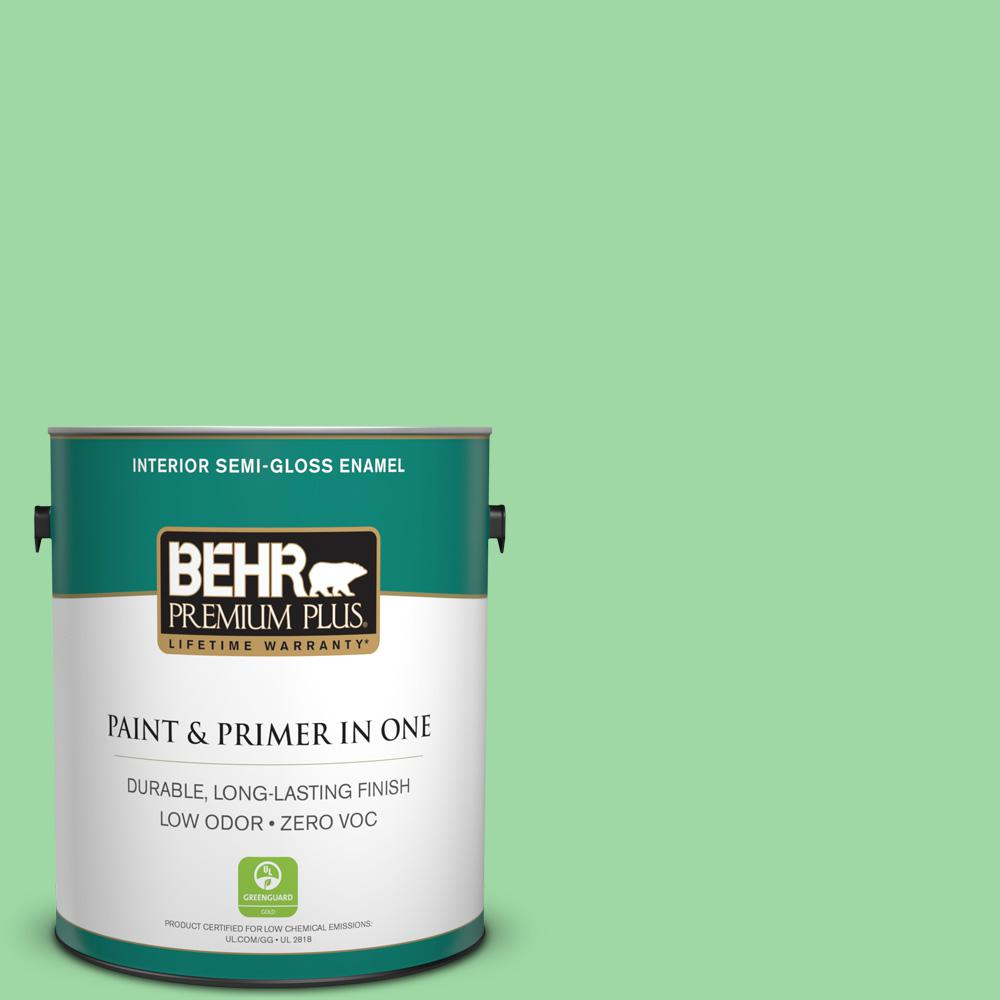 1-gal. #450B-4 Green Trance Zero VOC Semi-Gloss Enamel Interior Paint