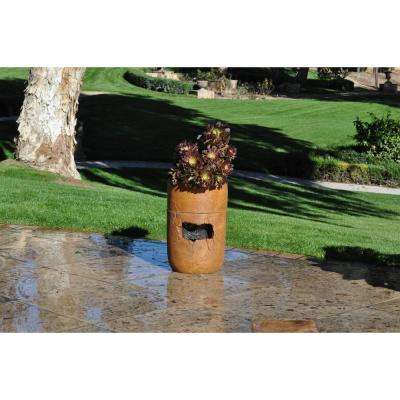 Rainshower Cordless Fountain and Planter, Terracotta
