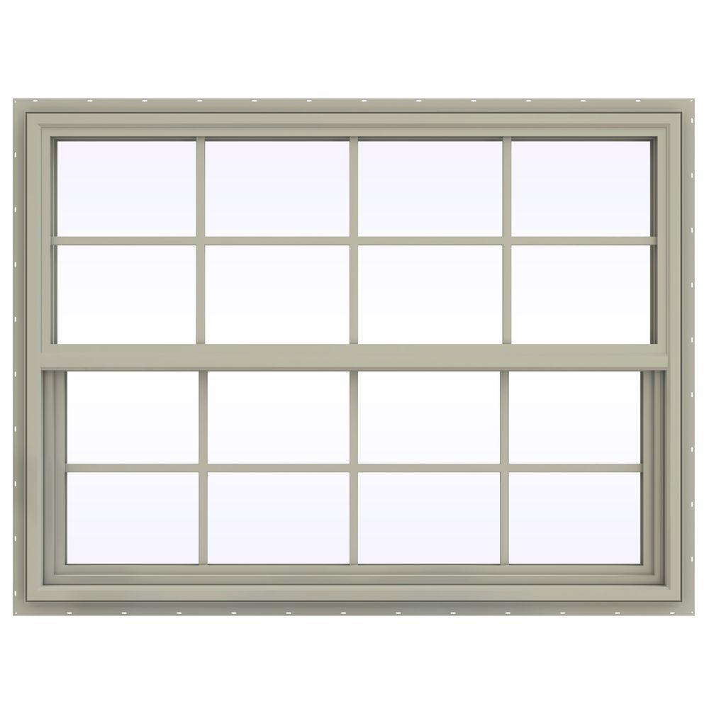 JELD-WEN 47.5 in. x 35.5 in. V-4500 Series Single Hung Vinyl Window with Grids - Tan