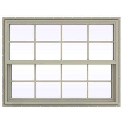 47.5 in. x 35.5 in. V-4500 Series Single Hung Vinyl Window with Grids - Tan
