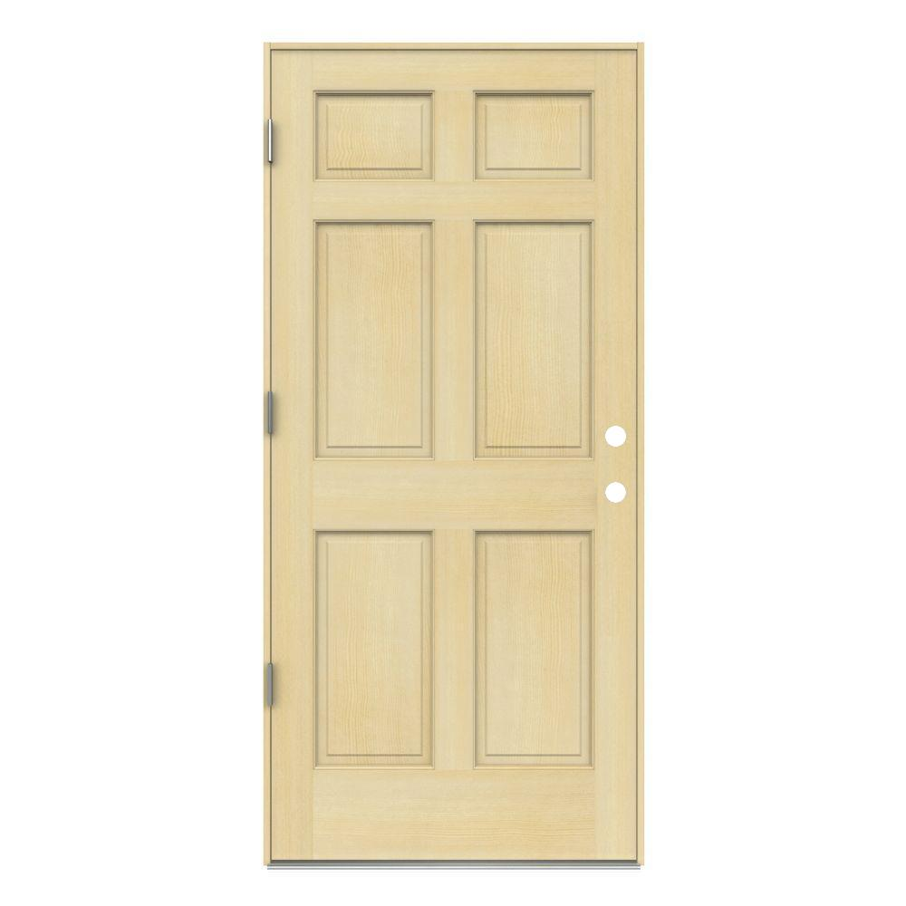 36 in. x 80 in. 6-Panel Unfinished Right-Hand Outswing Wood Prehung