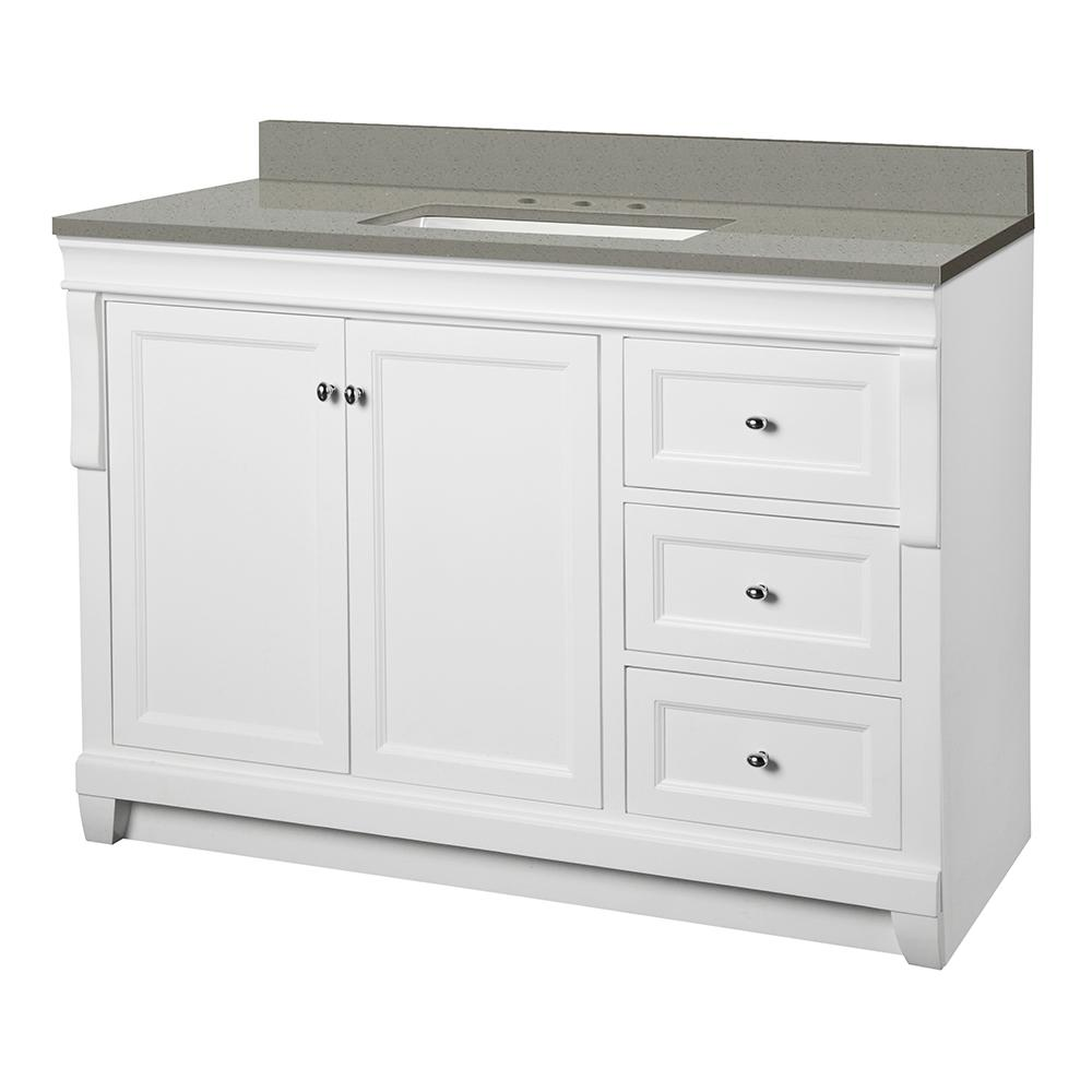 Foremost Naples 49 in. W x 22 in. D Vanity Cabinet in White with Engineered Quartz Vanity Top in Sterling Grey with White Basin was $999.0 now $699.3 (30.0% off)
