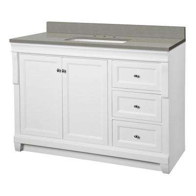 Naples 49 in. W x 22 in. D Vanity Cabinet in White with Engineered Quartz Vanity Top in Sterling Grey with White Basin