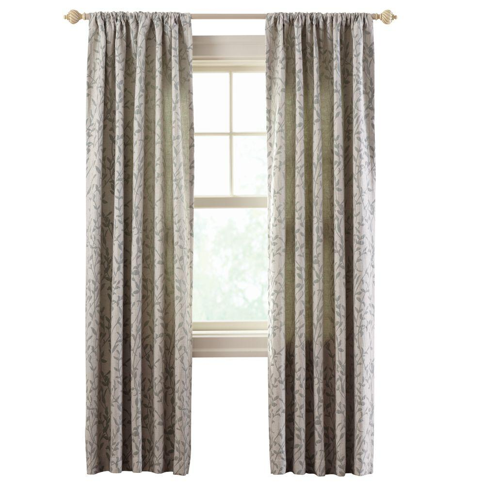 Home Decorators Collection Semi Opaque Beige Hourglass Embroidered Lined Curtain 50 In W X 84