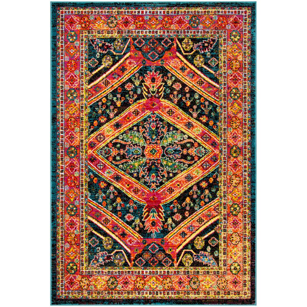 Safavieh Himalaya Turquoise 4 Ft X 4 Ft Round Area Rug: Safavieh Cherokee Turquoise/Light Orange 4 Ft. X 6 Ft