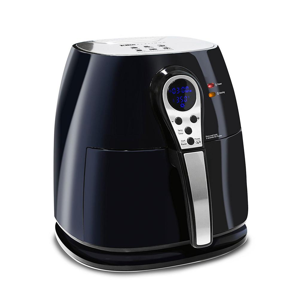 Air Fryer, Black The Elite Platinum Digital Air Fryer has a variety of functions to handle a wide array of cooking tasks. With its easy to use digital display, you can fry, cook, or even bake your favorite meals and snacks with ease. Not only can you cook foods without the mess of oil but you can cook faster which saves you time and energy. Unlike most conventional deep fryers, the Digital Air Fryer's unique vapor system combined with circulating hot air will automatically make foods crispier and of course healthier without oil Color: Black.