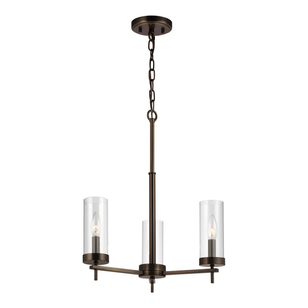 Sea Gull Lighting Zire 3-Light Brushed Oil Rubbed Bronze Chandelier with Clear Glass Shades