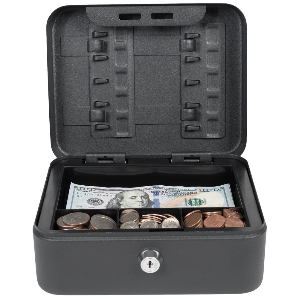 Compact Size Cash Box with Key Hooks