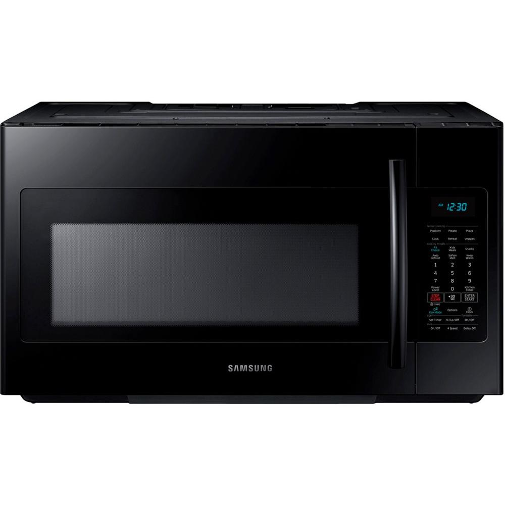 samsung 30 in w 1 8 cu ft over the range microwave in black with sensor cooking me18h704sfb. Black Bedroom Furniture Sets. Home Design Ideas