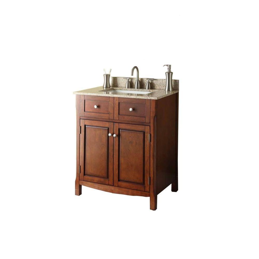 30 in. W x 34-1/4 in. H x 21 in. D Vanity Cabinet Only in Dark ...