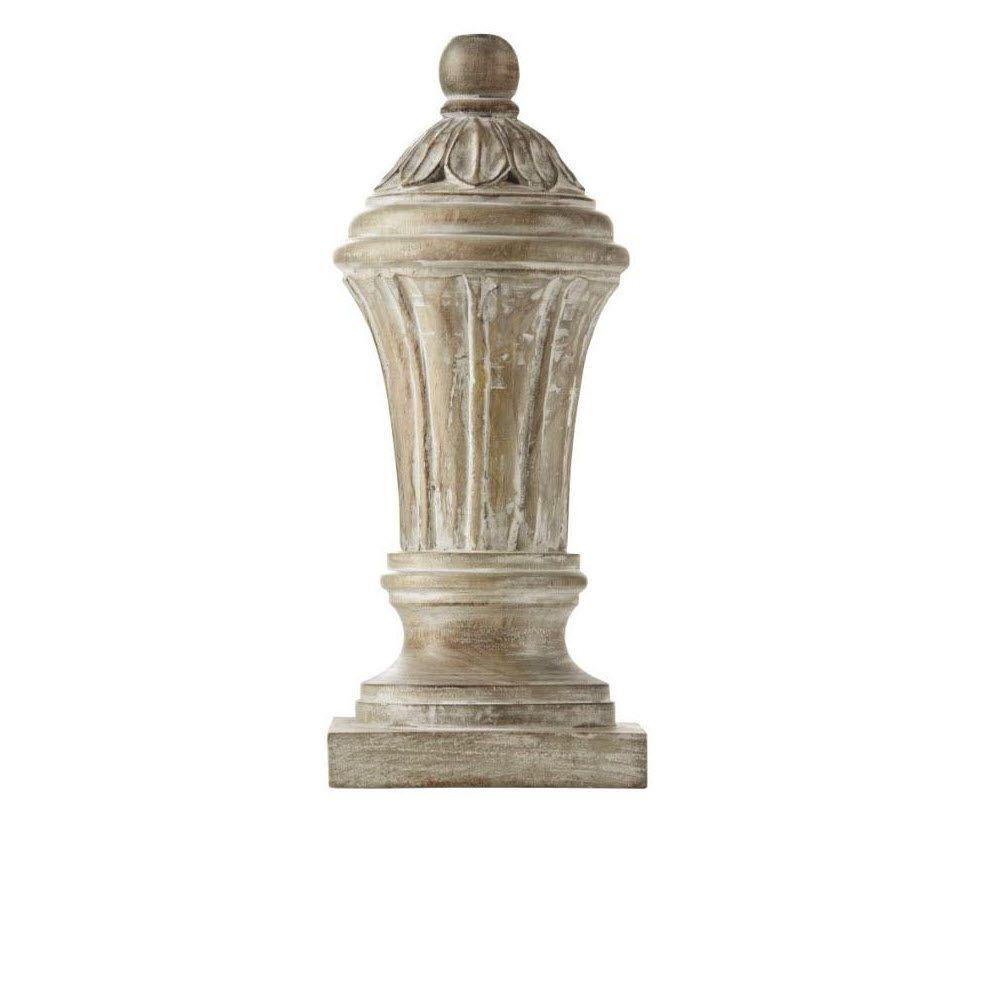 Home Decorators Collection Dashka 12 in. H Decorative Wood Finial in White Wash