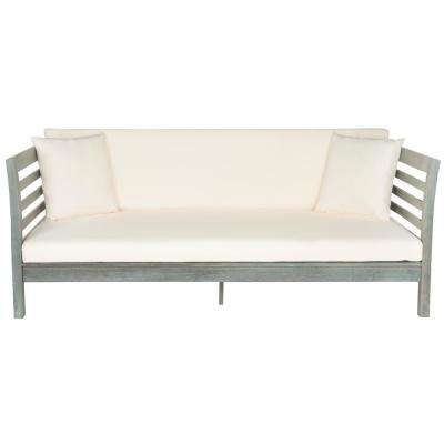 Malibu Ash Grey Wood Outdoor Day Bed with Beige Cushions