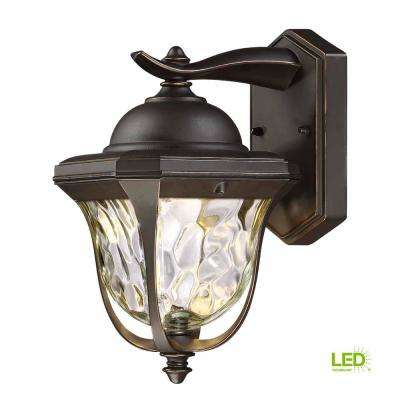 14 in. LED Aged Bronze Patina Outdoor Wall Lantern with Clear Hammered Glass Shade