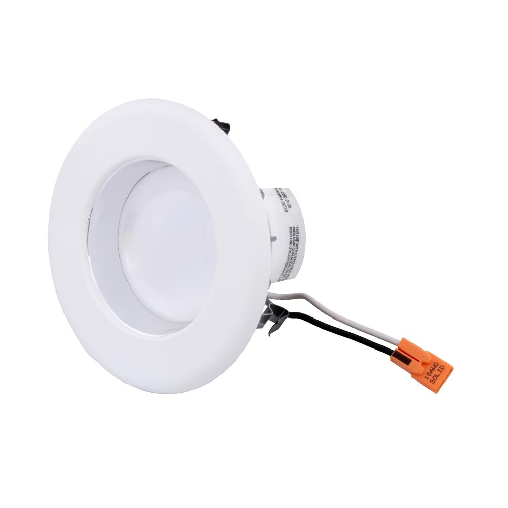 Envirolite 4 in white integrated led recessed ceiling light with white integrated led recessed ceiling light with specular clear cone on trim aloadofball Choice Image