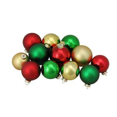 3.25 in. to 4 in. Red Green and Gold Shiny and Matte Glass Ball Christmas Ornaments (72-Count)