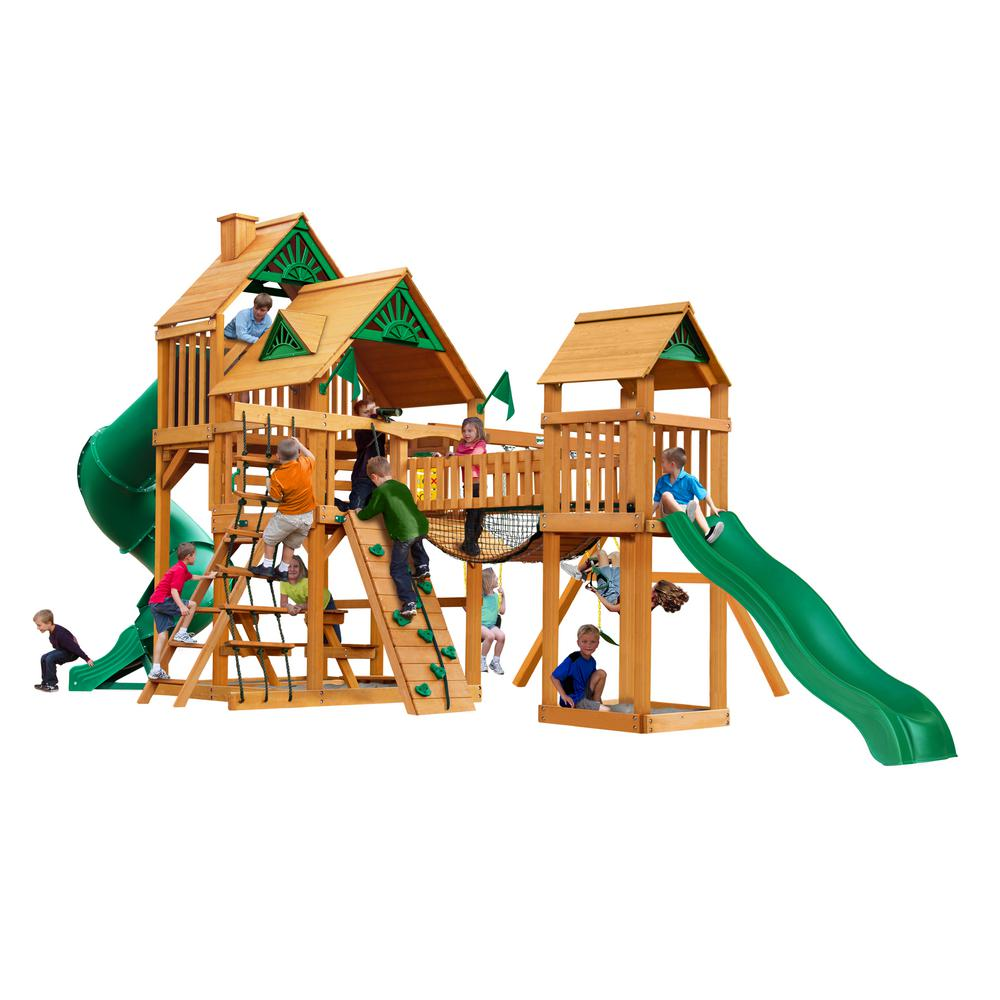 Gorilla Playsets Treasure Trove I Wooden Playset with 2 Slides and Clatter Bridge
