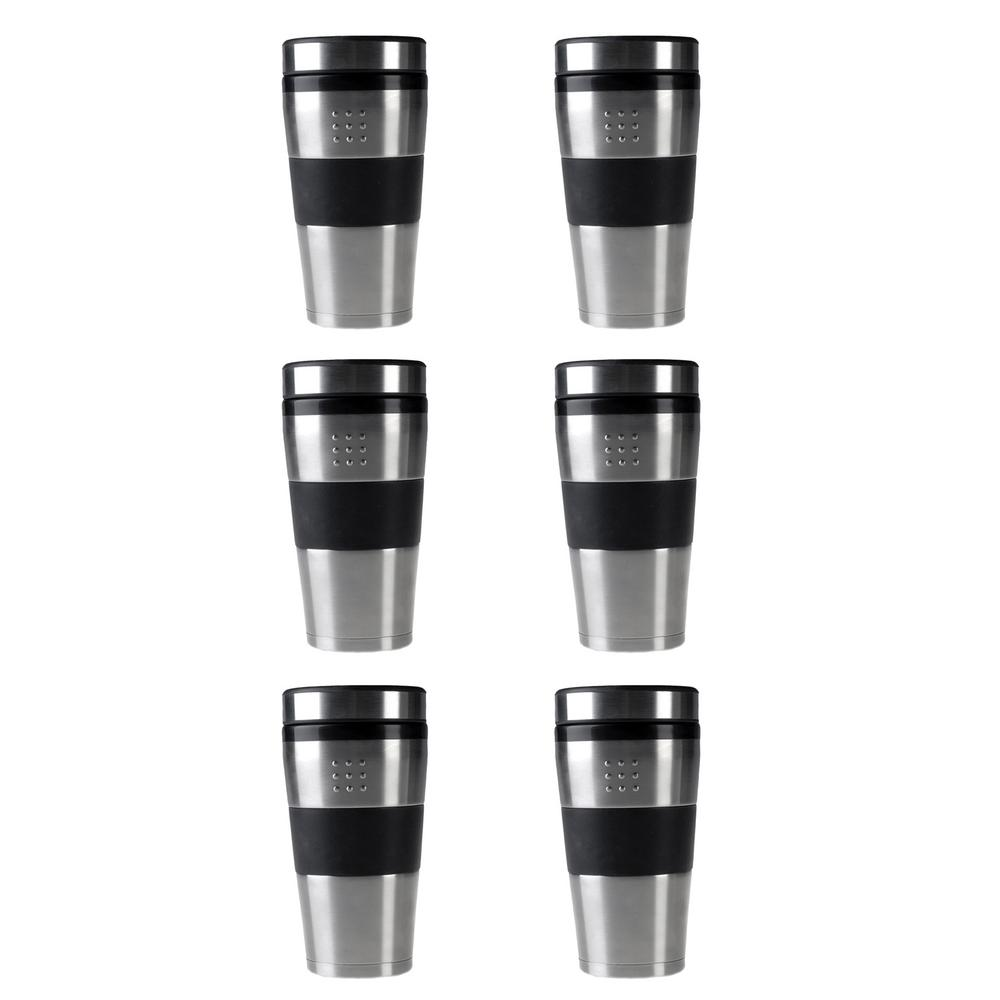 Orion 16 oz. Stainless Steel Portable Coffee Mugs (Set of 6)